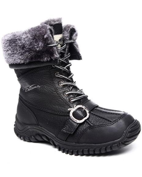 Apple Bottoms Women Black Narele Boot W/ Faux Interior Fur Lining