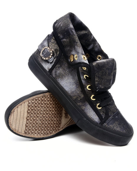 Apple Bottoms - Women Black Elektra Denim Gold Dust Sneaker