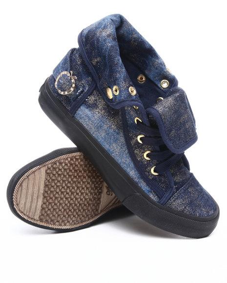 Apple Bottoms Women Blue Elektra Denim Gold Dust Sneaker