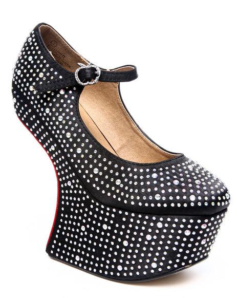 Apple Bottoms Women Black Ginger Platform Angled Diamond Studded Heel