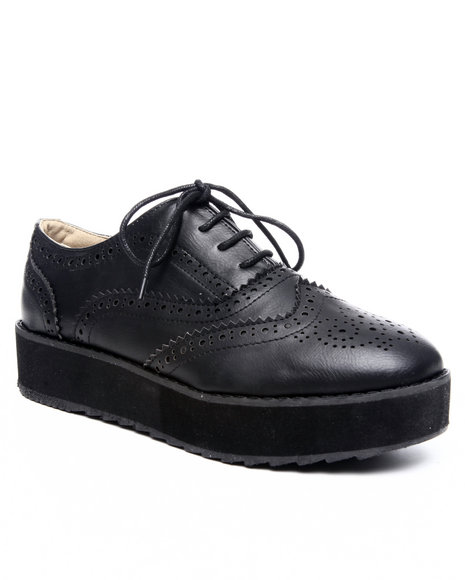 Fashion Lab - Women Black Oxia Oxford W/Wedge