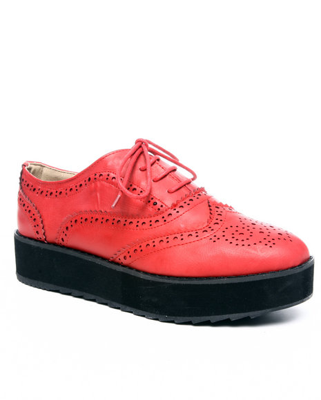 Fashion Lab - Women Red Oxia Oxford W/Wedge