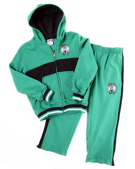 Nba Mlb Nfl Gear Boys Green Celtics Hooded Fleece Set (4-7)