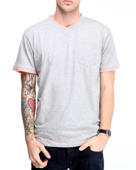 Company 81 Men Grey S/S V-Neck Tee W/ Contrast Double Layer Detail