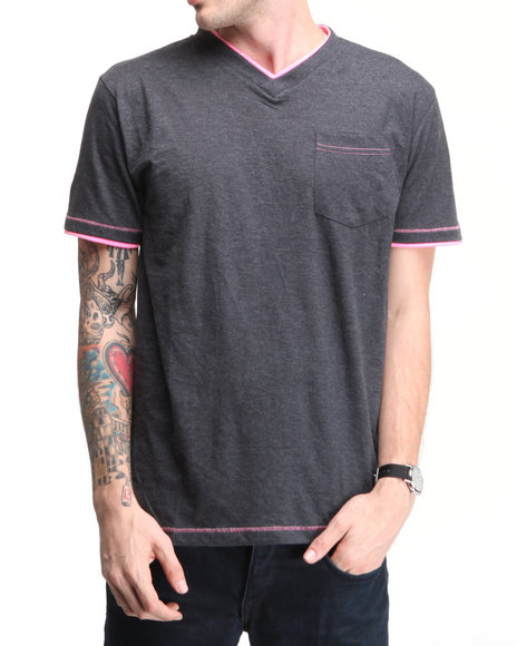 Company 81 Men Charcoal S/S V-Neck Tee W/ Contrast Double Layer Detail