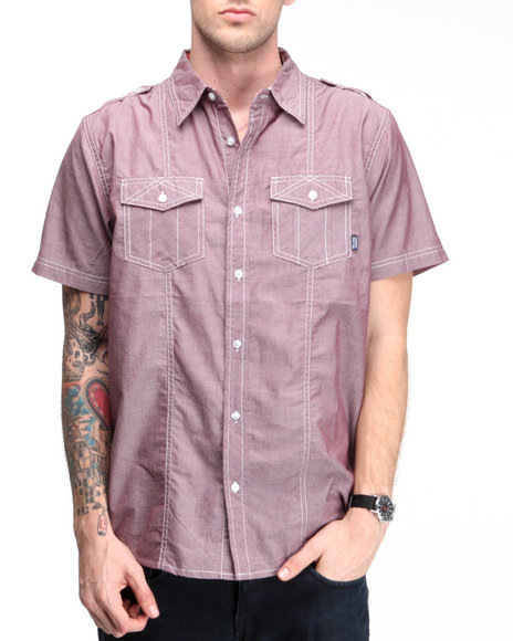 Company 81 Men Maroon S/S Anderson Button Down Shirt