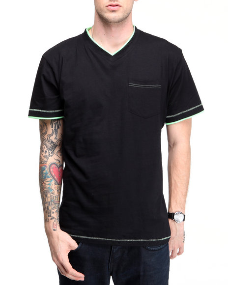 Company 81 Men Black S/S V-Neck Tee W/ Contrast Double Layer Detail