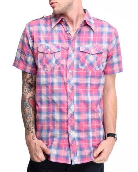 Company 81 Men Pink S/S Washed Plaid Shirt
