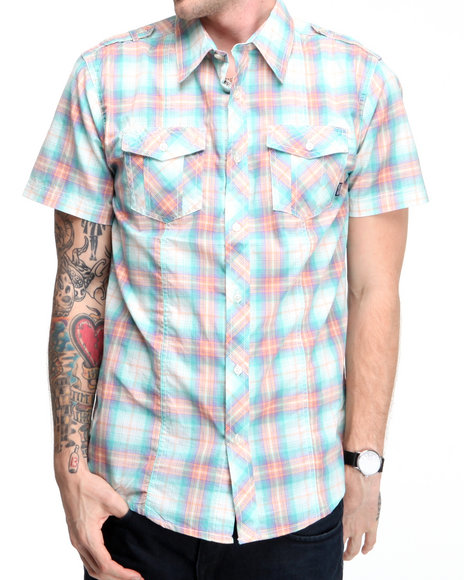 Company 81 Men Teal S/S Washed Plaid Shirt