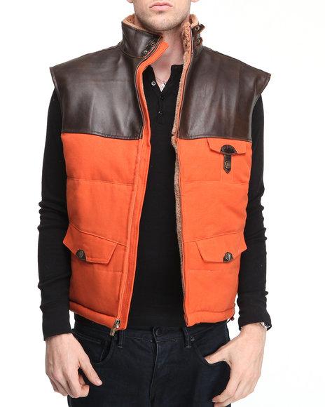 Pelle Pelle Men Orange Pu Yoke Bubble Vest W/ Faux Fur Lining