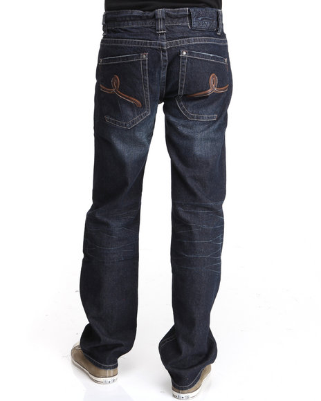 Pelle Pelle - Men Dark Blue Pu Loop Denim Jeans