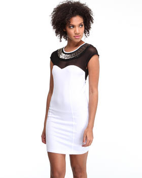 DJP Boutique - Donna beaded neck ponte dress