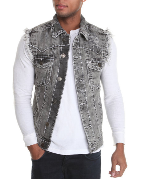 Basic Essentials Men Grey True Hookup Destructed Denim Vest