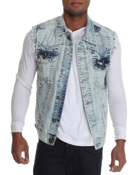 Basic Essentials Men Light Wash True Hookup Destructed Denim Vest