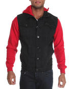 Basic Essentials - Denim Vest with Sleeves and Removable Hood