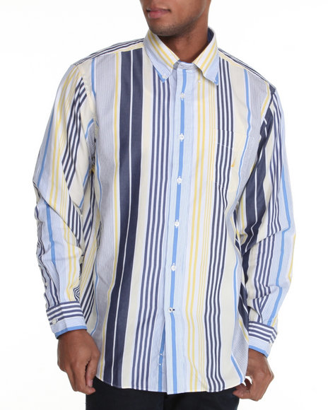 large stripe button down shirt