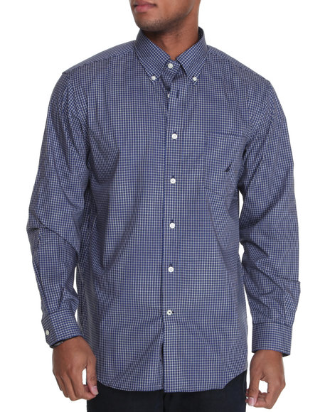 Nautica Men Navy Poplin Plaid Button Down Shirt