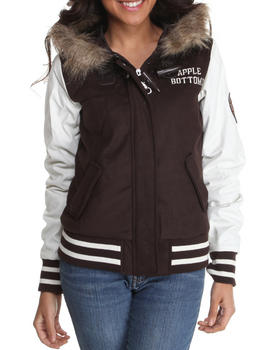 Apple Bottoms - Wool Hooded Varsity Jacket w/ Faux fur trim