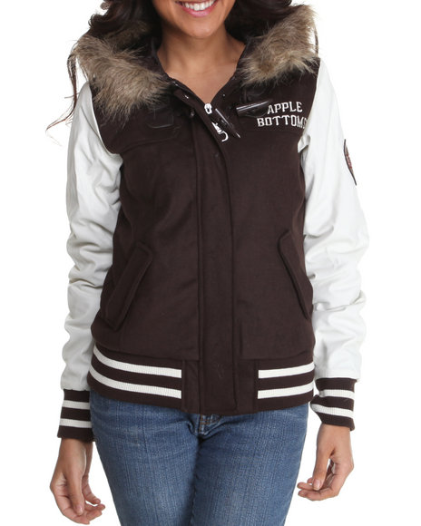 wool hooded varsity jacket w/ faux fur trim
