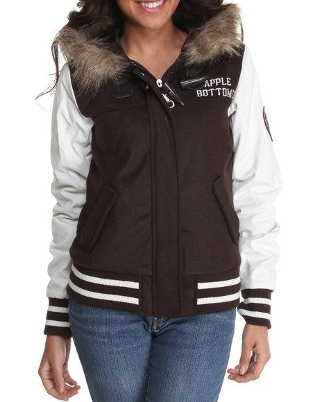 Apple Bottoms Women Brown Wool Hooded Varsity Jacket W/ Faux Fur Trim