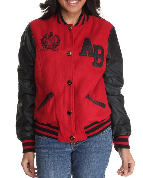 Apple Bottoms Women Red Contrast Sleeves Varsity Wool Jacket