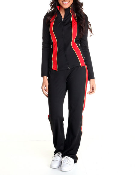 Basic Essentials Women Black,Red Track Suit Set