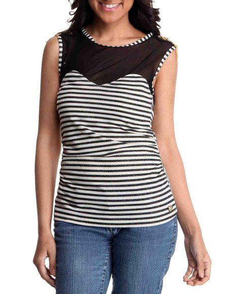 Apple Bottoms Women Cream Jeweled Shoulder Illusion Striped Top