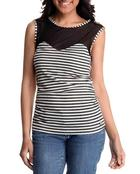 Tops - Jeweled Shoulder Illusion Striped Top