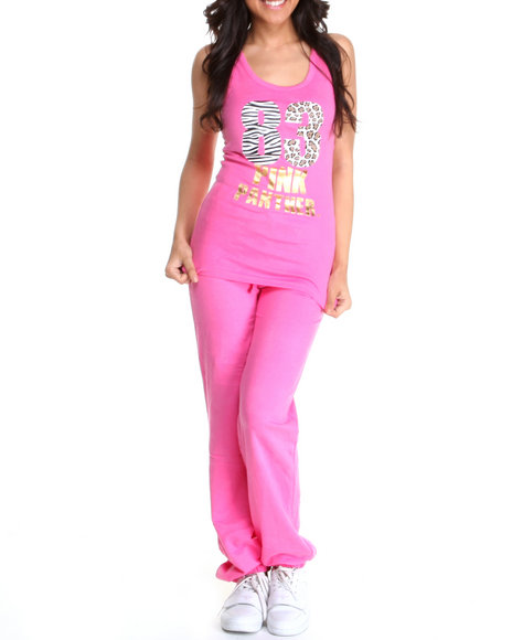 Graphix Gallery Women Pink Pink Panther Long Terry Sweat Pant Set