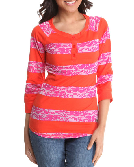 lace detail stripe jersey w/ 3/4 sleeve