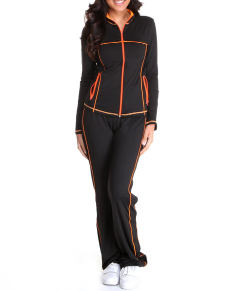 Basic Essentials Women Black,Orange Track Suit Set