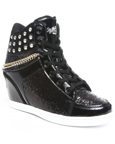 Apple Bottoms Women Black Kadenza Glitter, Chain, Studs, Wedge Sneaker
