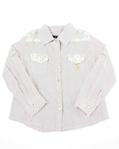Baby Phat Girls Cream Button Down Shirt With Lace (2T-4T)