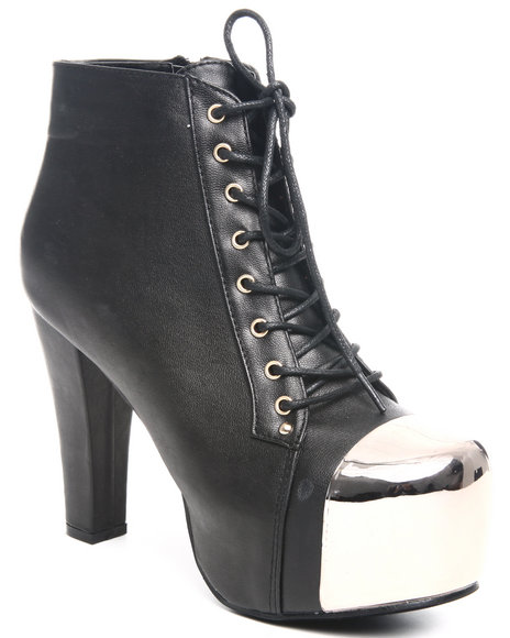Fashion Lab Women Black Bootie W/Toe Detail