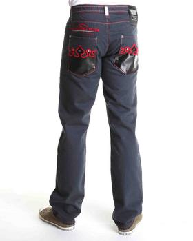 Crown Holder - Half Patent leather back pocket denim jeans