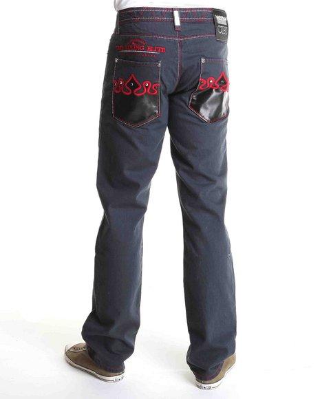 Crown Holder Men Grey Half Patent Leather Back Pocket Denim Jeans