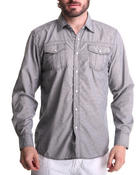 Men - Solid Contrast Stitch Woven Shirt
