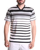 Men - Engineered Stripe V-Neck Tee