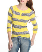Tops - Lace detail stripe jersey w/ 3/4 sleeve