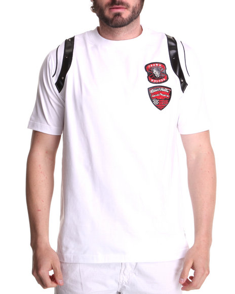 Crown Holder Men White Double Patch Tee