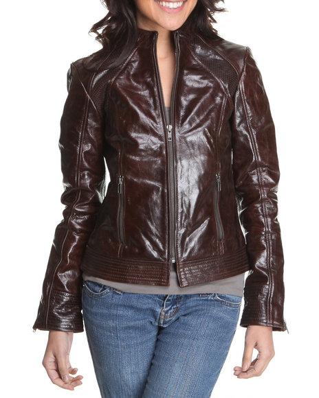 Drj Leather Shoppe - Women Brown Leather Zipup Jacket