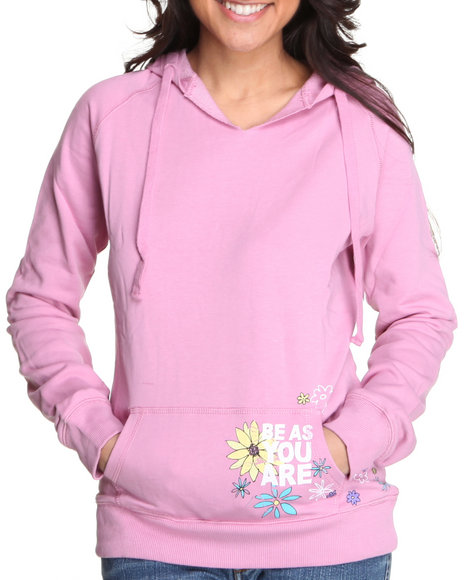 Basic Essentials Women Pink Printed Pullover Hoodie