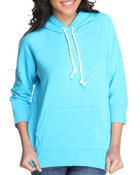 Outerwear - Solid Pullover fleece light weight jacket w/hood