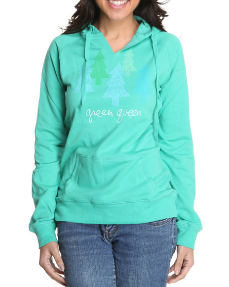 Basic Essentials Women Green Printed Pullover Hoodie