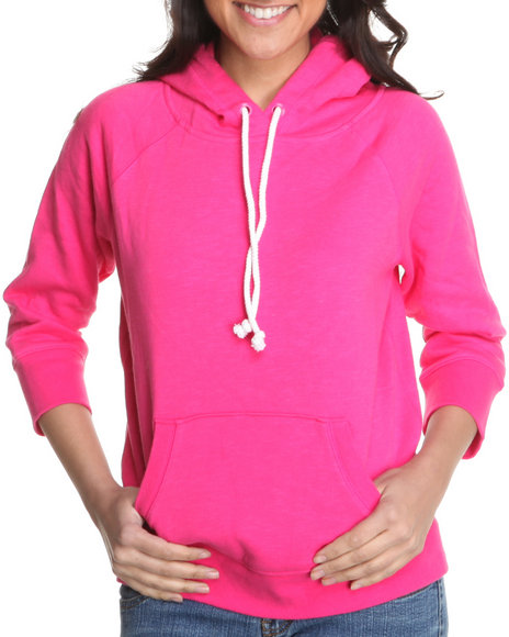 Basic Essentials Women Pink Solid Pullover Fleece Light Weight Jacket W/Hood