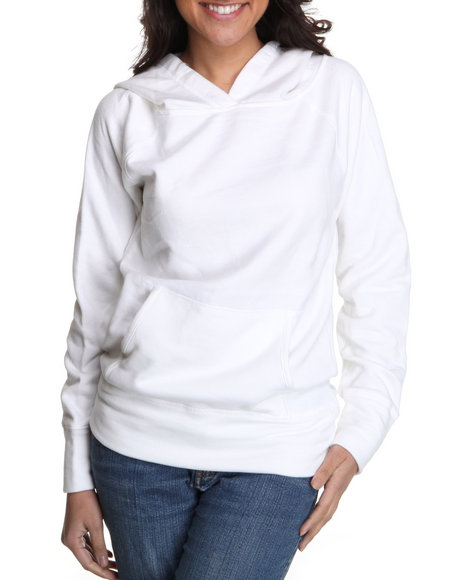 Basic Essentials Women White Fleece Light Weight Hoodie Jacket W/Kangaroo Pockets