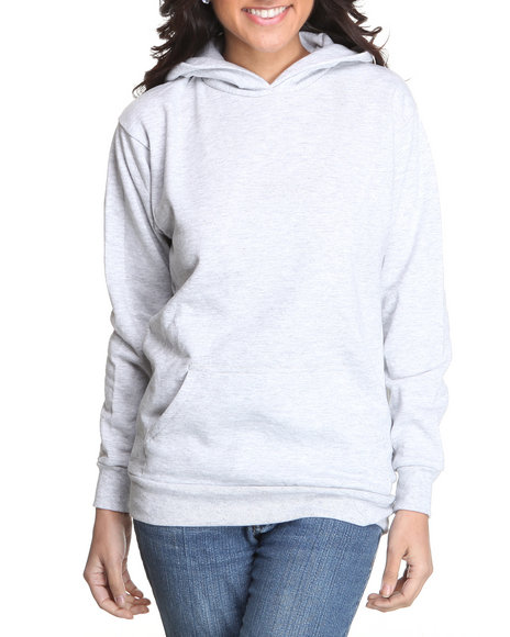 Basic Essentials Women Grey Fleece Hoodie Pullover