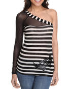 Long-Sleeve - One Shoulder Mesh Trimmed Stripe Top