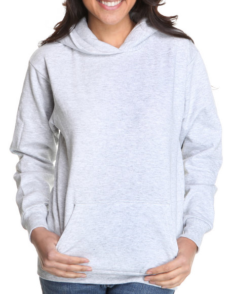 Basic Essentials Women Grey Hooded Fleece Pullover