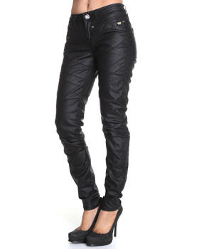 Treys Angels - Pu Coated Seamed Denim